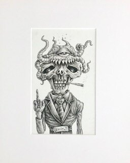 Octor Makes His Pet Zombro Do Innapropriate Hand Gestures  Emek   archival ink on archival paper  16 x 13 x 1 (framed)  SOLD