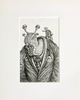 Uncle Aspersum is Tired of These Cheloniial Whippersnappers  Emek   archival ink on archival paper  16 x 13 x 1 (framed)  $750