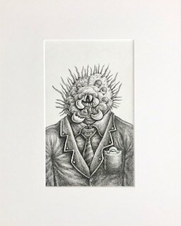 Paulie Polychaete  Emek   archival ink on archival paper  16 x 13 x 1 (framed)  $750