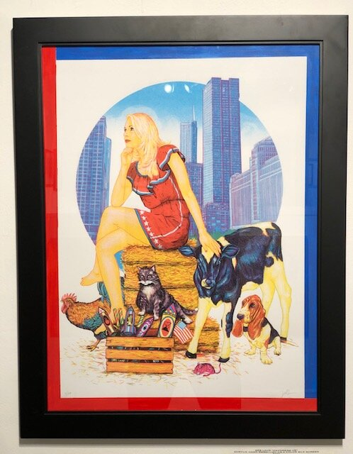 Daydream HE  Zeb Love   Acrylic hand embellish on 4 color silk screen  27 x 21.25 x 1 (framed)  $200