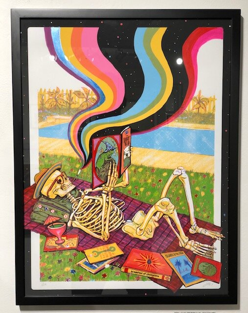 Perpetual Youth HE  Zeb Love   Acrylic hand embellish on 4 color silk screen  25 x 19 x 1.25 (framed)  $200