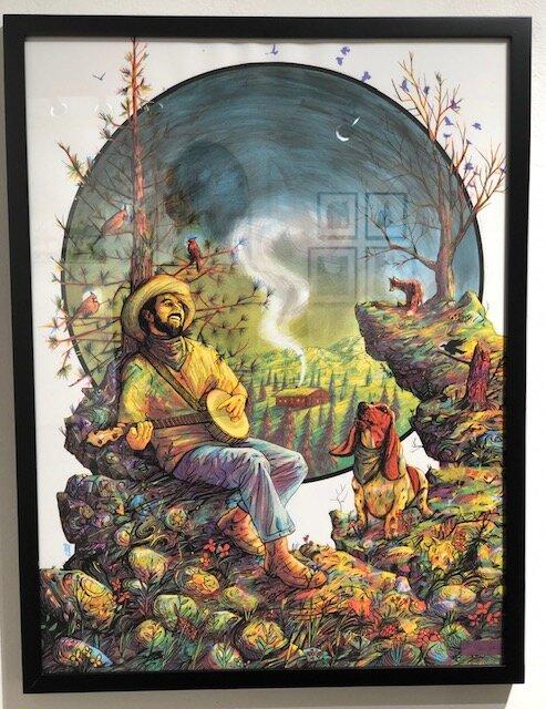 Heaven Hill HE  Zeb Love   Acrylic hand embellish on 4 color silk screen  25 x 19 x 1.25 (framed)  $200