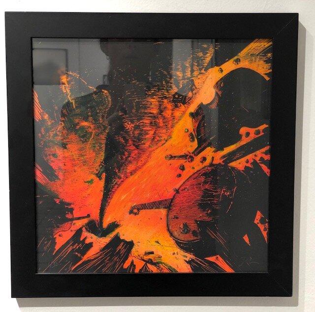The Air was Heavy  Zeb Love   Acrylic hand embellish on 4 color silk screen  14 x 14 x 1..75 (framed)  $125