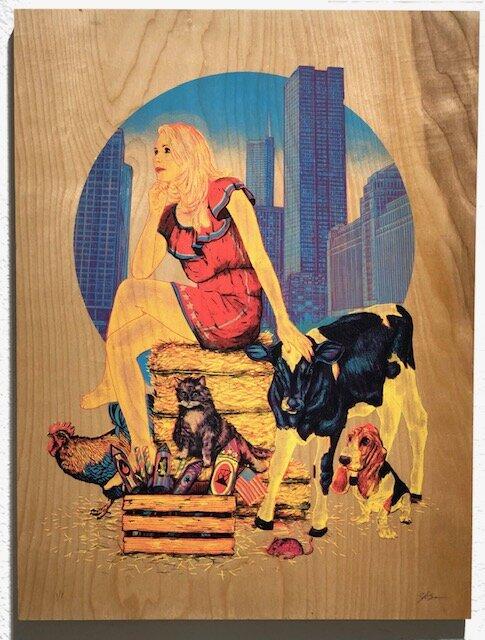 Daydream  Zeb Love   4 color silk screen on birch panel  24 x 18 x 3 (framed)  $300