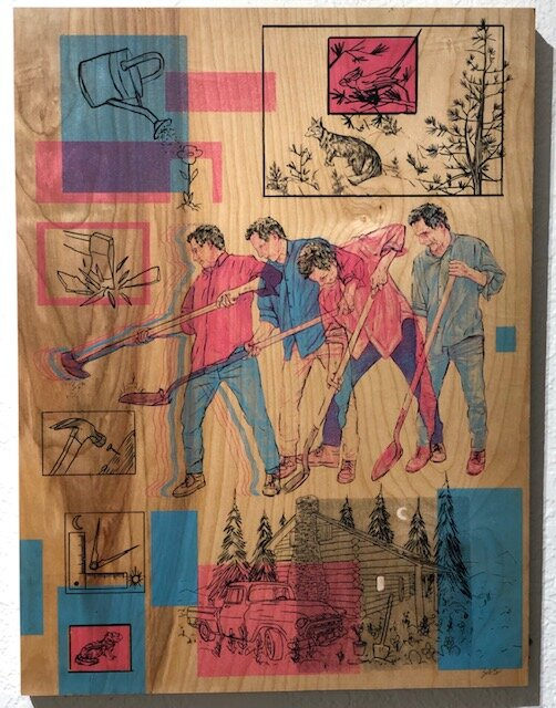 Life  Zeb Love   4 color silk screen on birch panel  24 x 18 x 3 (framed)  $300