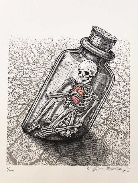 """Emek """"SOS""""   letterpress on brilliant white 320 GSM cotton rag with hand embellished heart *paper guide below shows paper color more clearly  12.75 x 10 inches Edition of 100, signed and numbered  SOLD OUT ($70)"""