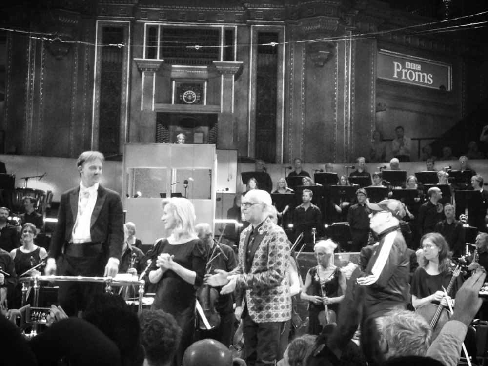 """High & low art meet: the Pet Shop Boys at the BBC Proms, after the premiere of """"A Man from the Future"""", July 2014."""