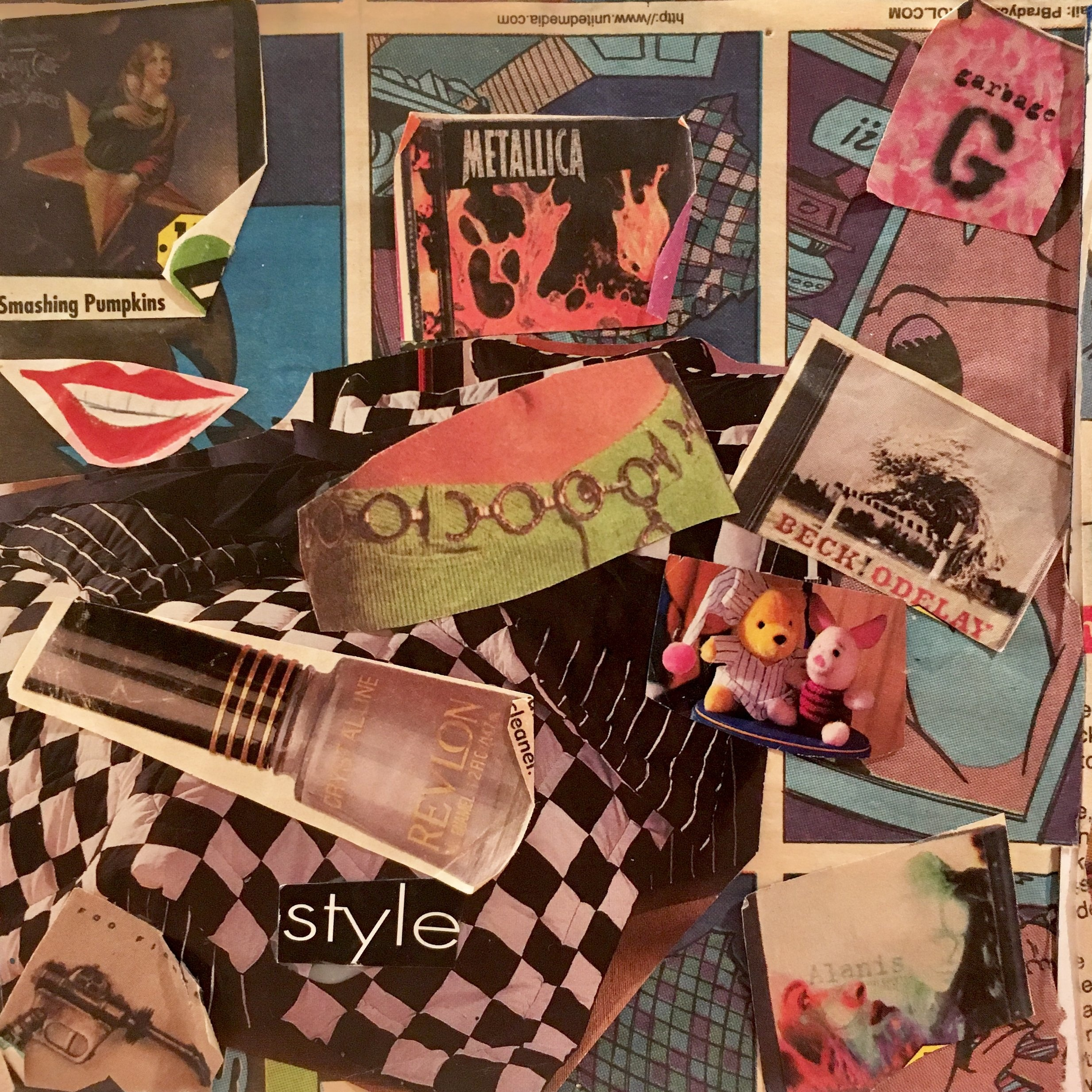 A photograph of an actual 1996 artifact: a side of a cube collage I made in eighth grade.
