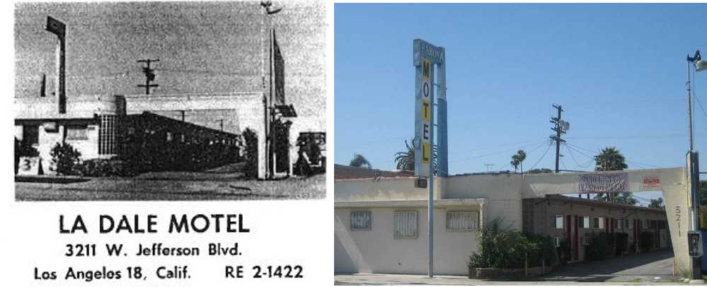 The La Dale Motel in Los Angeles, California, appeared in several editions of the  Green Book.   This photo, from 2014, reveals a remarkably intact building that retains its function as a motel.