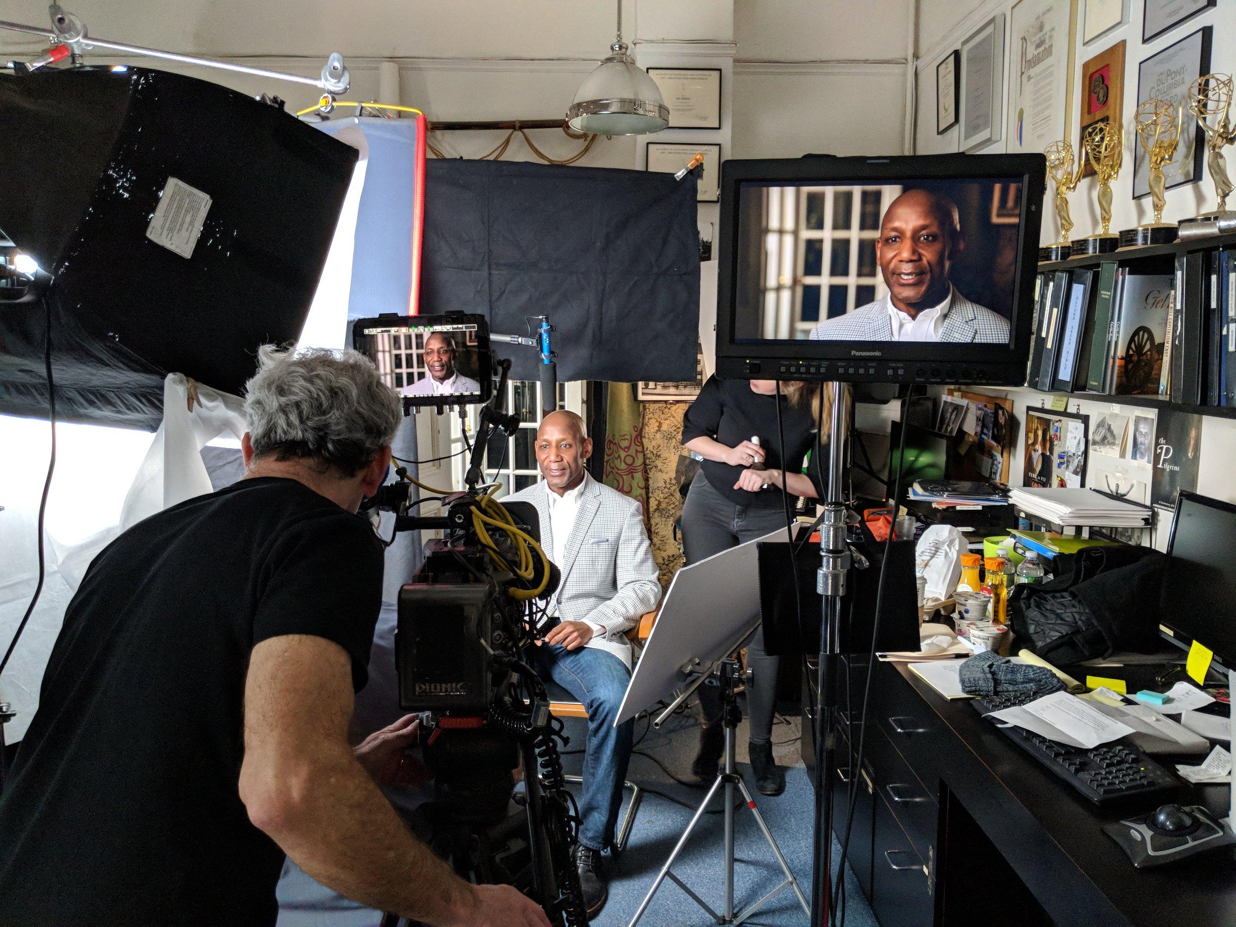 Interviewing Dr. Craig S. Wilder. Photo by Emily Pfeil