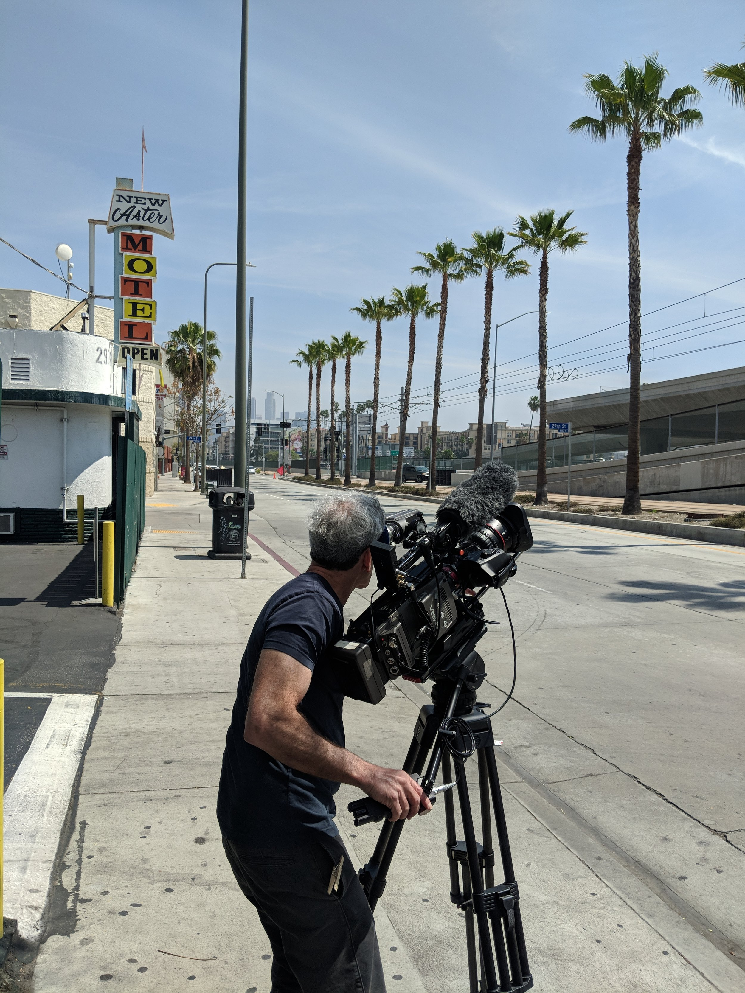 Filming in Los Angeles. Photo by Emily Pfeil