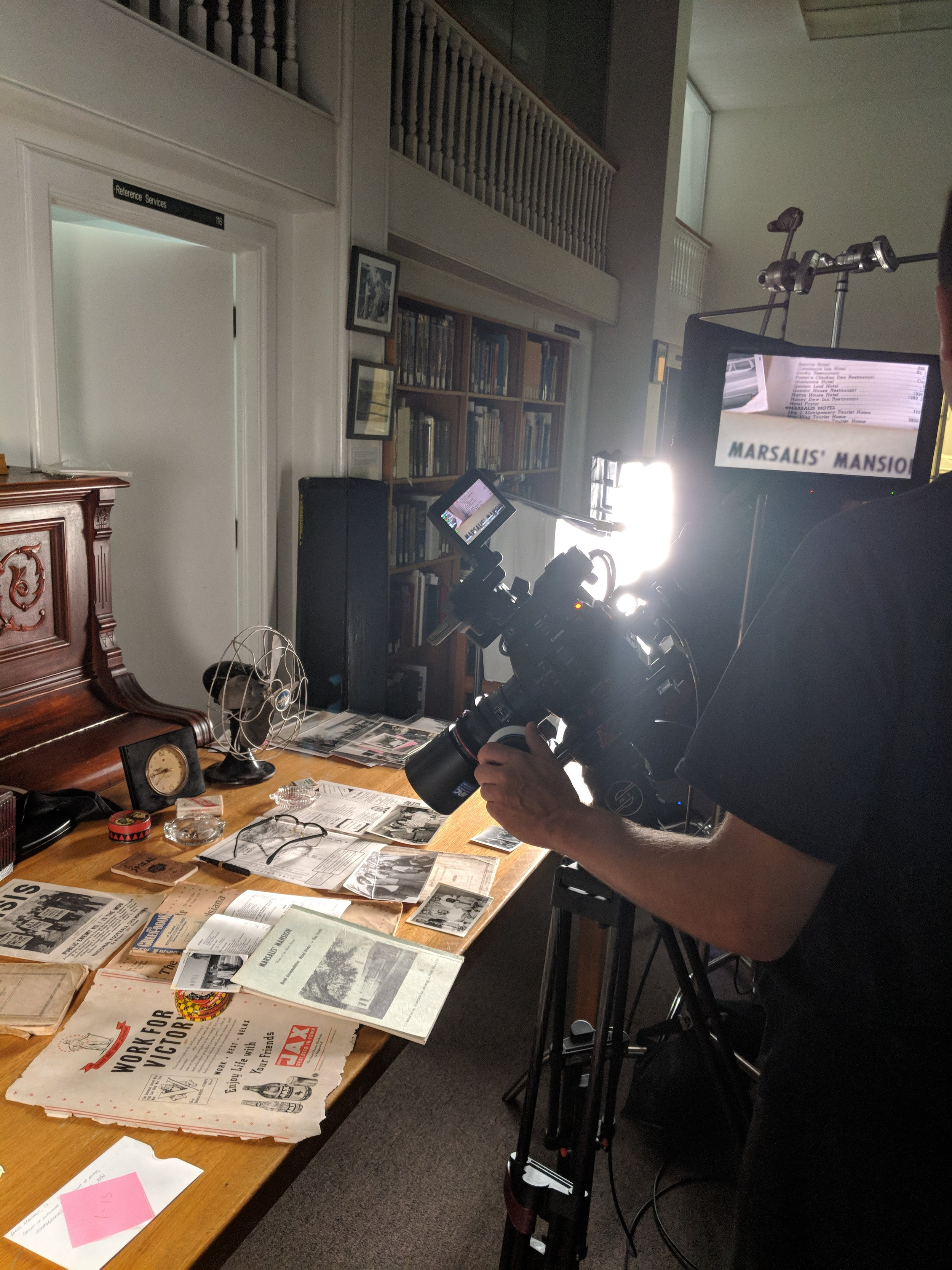Tableau filming at the Amistad Research Center. Photo by Emily Pfeil