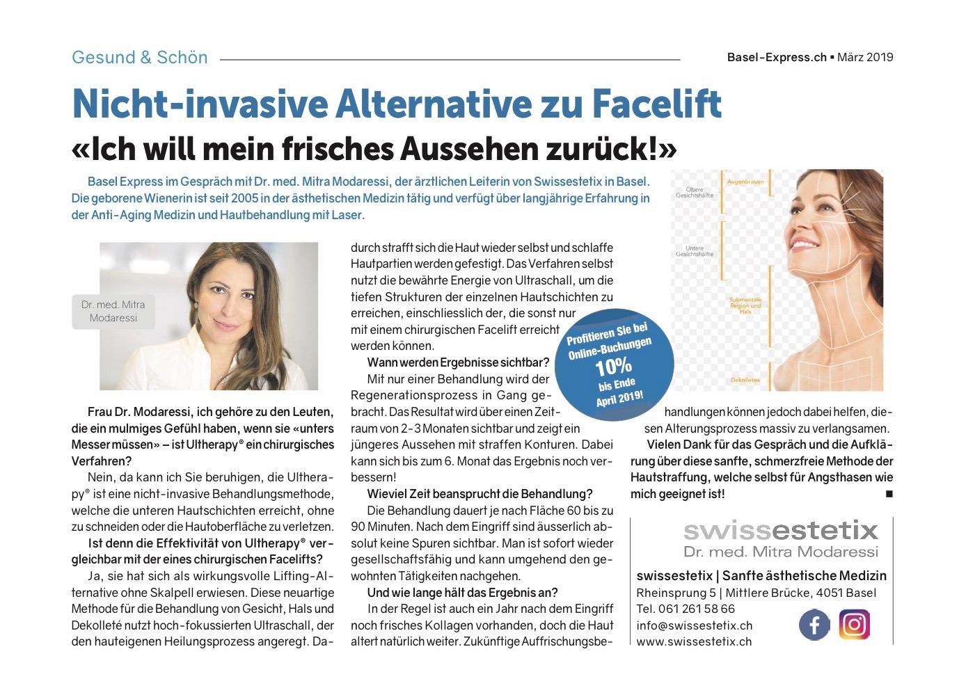 Basel Express im Gespräch mit Dr. med. Mitra Modaressi, die Expertin für ästhetische Gesichtsbehandlungen in Basel