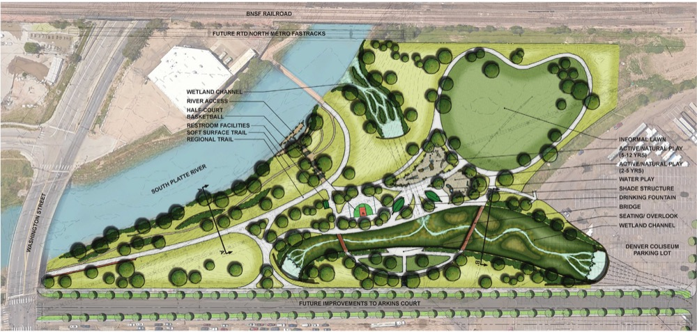 """Denver's ready to show off its plan for Globeville Landing  """"Part of the plan is to replace Globeville Landing's deep concrete channel with an open, natural drainage. The city plans to revamp the rest of the park along with all that construction.""""  6/21/16 Denverite"""