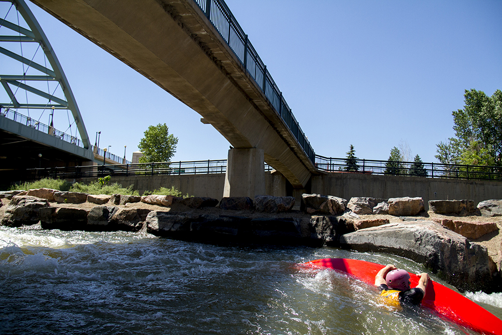 """Boaters have returned to the South Platte, but what about everyone else?  """"We see this as a place they're going to be walking their dog, they're going to be strolling. This is going to be their outdoor living room, so to speak, and not as much guys and girls in spandex riding 30 miles per hour,"""" says Greg Dorolek, principal at Wenk Associates, the firm designing the park.   6/17/2016 Denverite"""