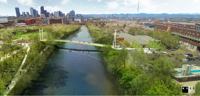 """A Denver nonprofit has built 270 bridges in impoverished places around the world. Now it's turning to its backyard in RiNo.  """"In Denver's River North Art District, near the group's Five Points headquarters, it is working with community leaders to adapt its standard cable-suspension bridge design for its first U.S. span: a South Platte River crossing that, as soon as next summer, could connect Globeville to the burgeoning area near Brighton Boulevard.""""   10/30/17 The Denver Post"""