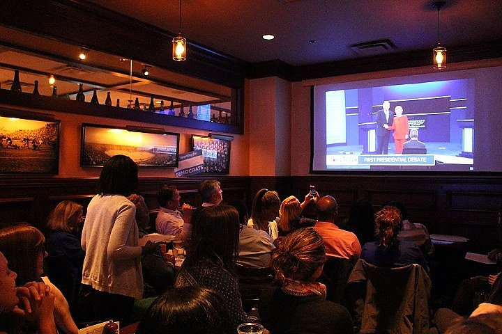 Clinton supporters watching debate at Cask Republic. (Thomas Breen photo)