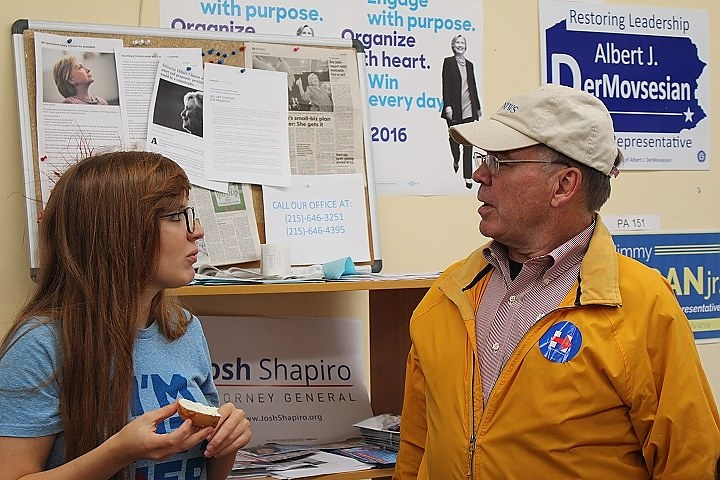 New Haven's Oliphant and Colter at Dresher Clinton HQ. (Thomas Breen photo)