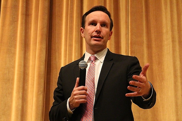 Murphy at Monday night's town hall at Daniels School.