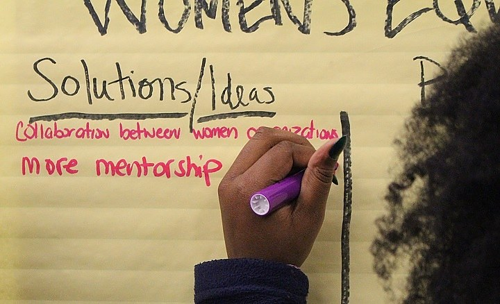 Participants brainstormed about how to achieve women's equality. (Thomas Breen photo)
