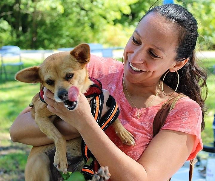 Marisol Orihuela and her dog Rigoberta at Edgewood Park on Sunday.