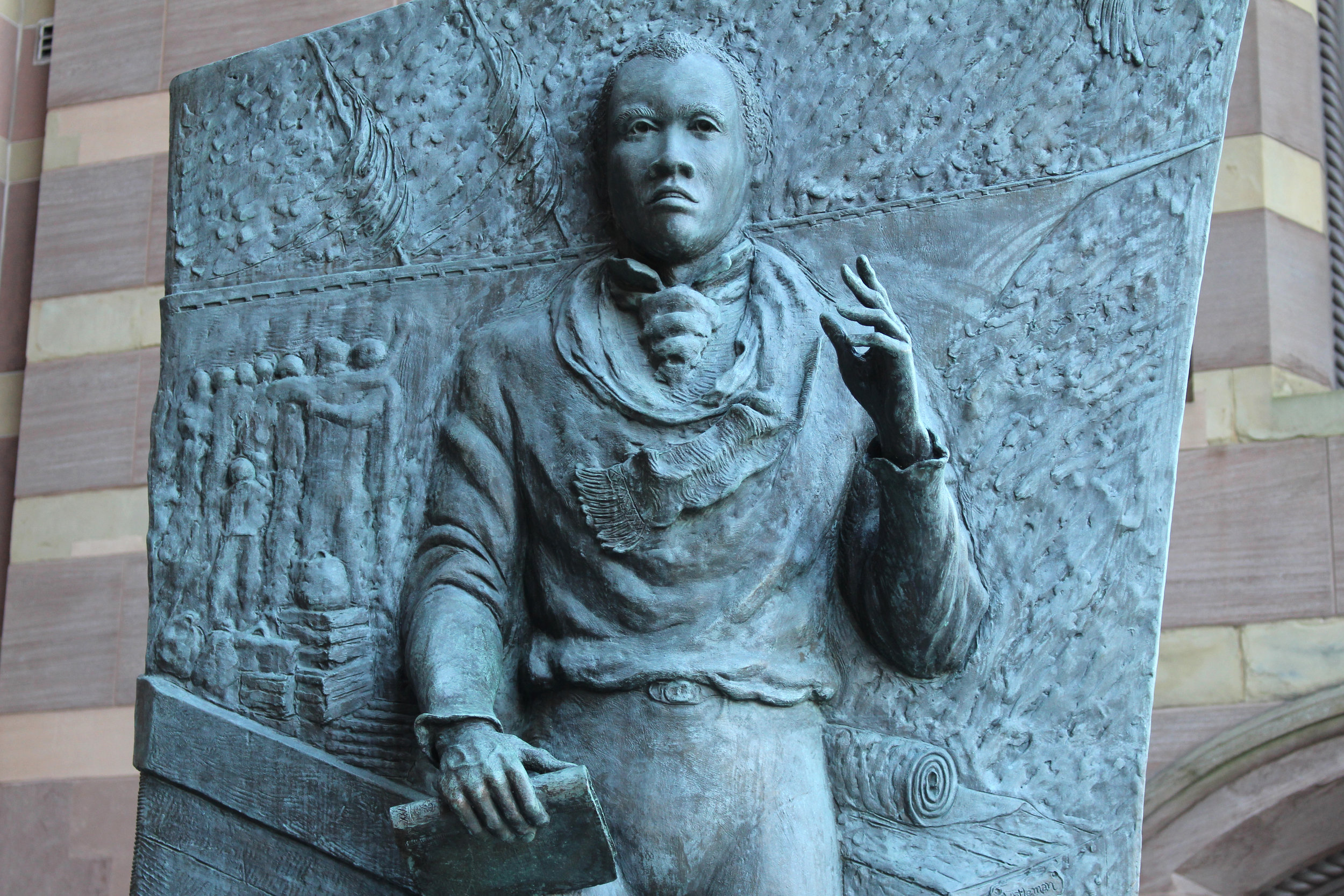 One panel of the Amistad Memorial, designed by Ed Hamilton, that stands outside of New Haven's City Hall. (Photo by Thomas Breen)