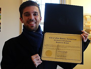 The author, with his Democracy School certificate.