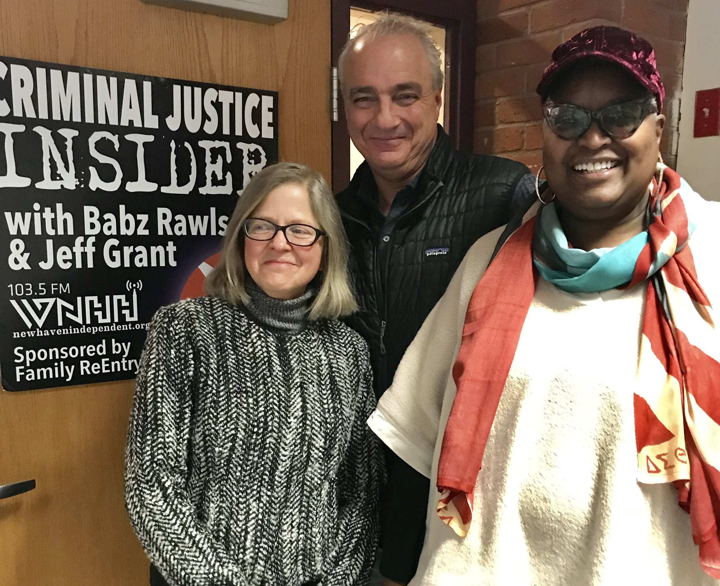 Cynthia Farrar (left) with Criminal Justice Insider hosts Jeff Grant and Babz Rawls Ivy.