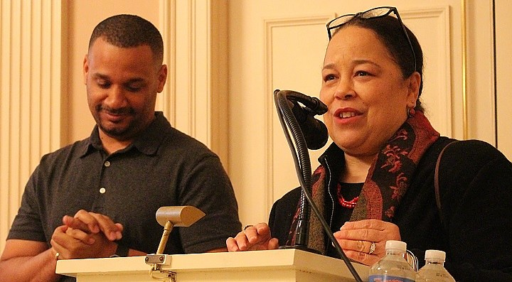 Regina Mason (right) and filmmaker Sean Durant at the New Haven Museum on Monday.