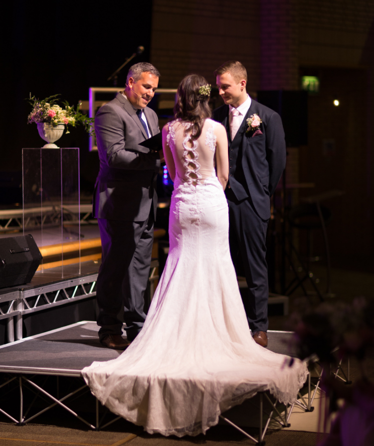 Iain and Eliza at the altar: Berkshire