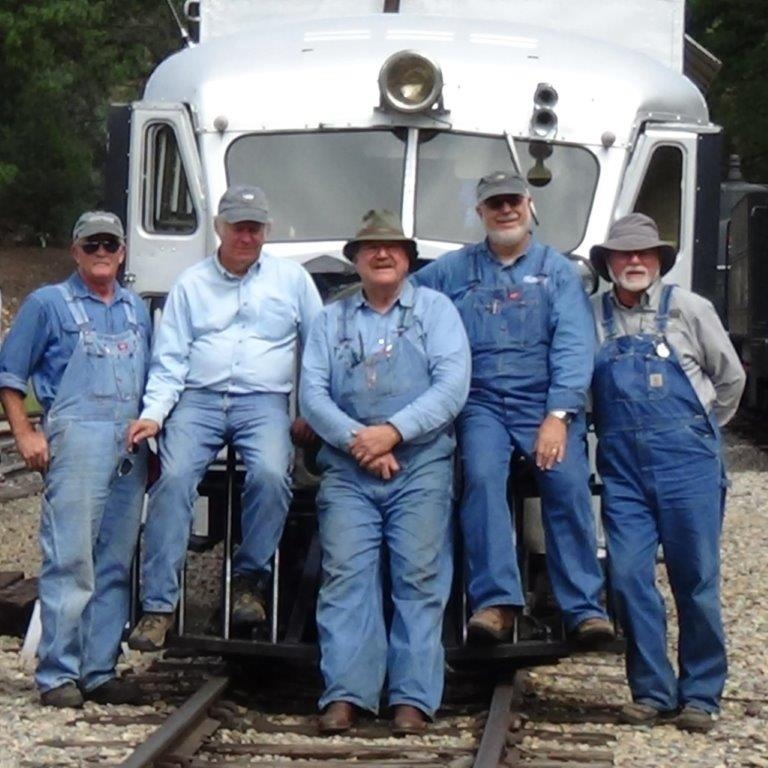 Photo by David Fluit at the Tacoma Siding on the Durango and Silverton, August, 2015.  The historical treasures - wait, not the crew, the treasure is the Goose #5.  Crew: Larry Spencer, Scott Gibbs, John Randall, Joe Beringer, Joe Becker.