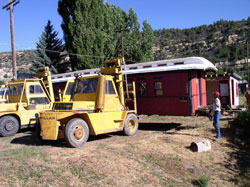 The lifting of the coach off the foundation where it sat since 1954.