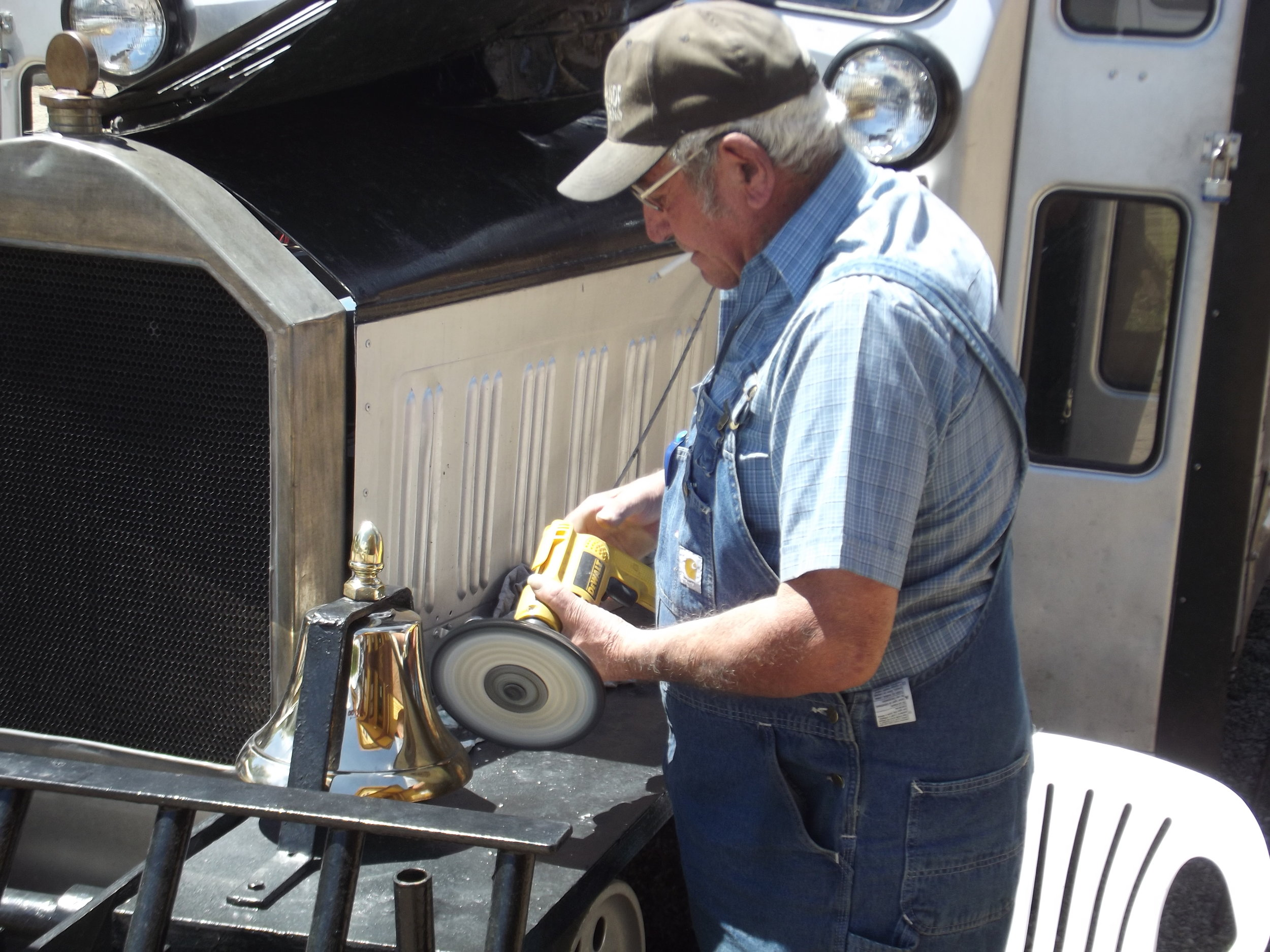 Polishing bell before Railfest, 2011
