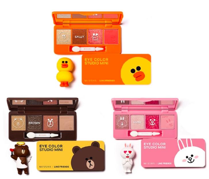 The Missha Eye Studio Minis in: (Top) #3,Sally Orange, (left) #2, Brown Bear & #1, Cony Pink