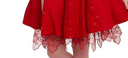 Detail on the Red Queen Heart Dress' Petticoat
