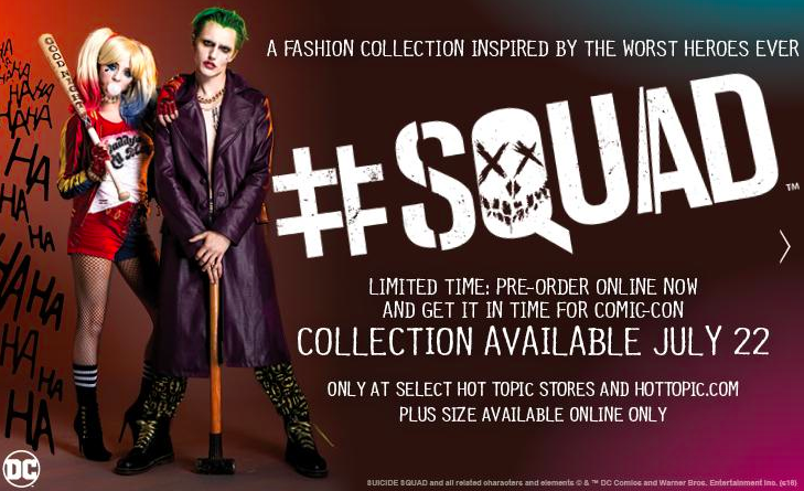Hot Topic's Suicide Squad collection announcement.