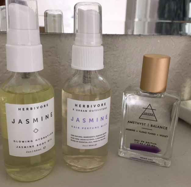 Herbivore's JASMINE botanical body oil & Hair perfume. ADORN perfume in Ametyst/Balance.