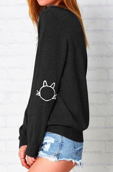 The Cat's Meow Embroidered sweatshirt.