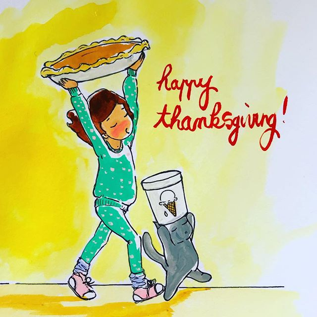 I got the pie, Zouzi's got the ice cream. We are ready !  #happythanksgiving #pie #yummy #lilousticks #dontgrowupitsatrap