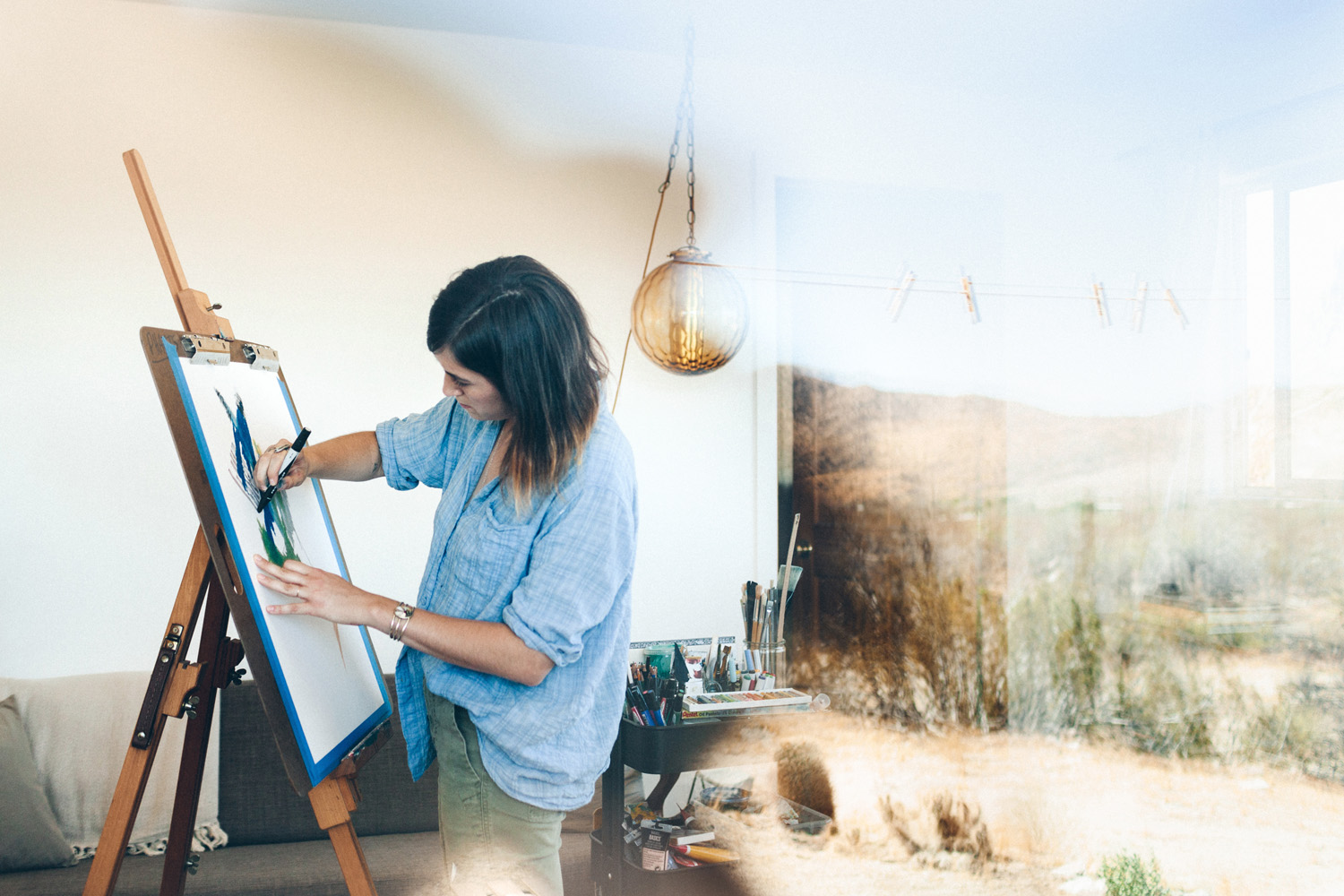- Since moving from the city to the desert, simplicity is the driving force of Anastasia DiGiallonardo's painting style. Her work utilizes clean, simple lines to mimic the soft rolling hills of the High Desert and gives display to the rich color palette of her surroundings. Her transition from city life to desert life is clear when you compare her past work, which is full of movement and static, to her current work of soft and feminine pieces. Nurtured by a slow, simple life, she taps into her intuition with every piece by creating each design and palette in the moment; Just as life should be.Anastasia is a self-taught artist living by the Sun and the Moon in Morongo Valley, CA with her Husband.Commissions are open for 2019.