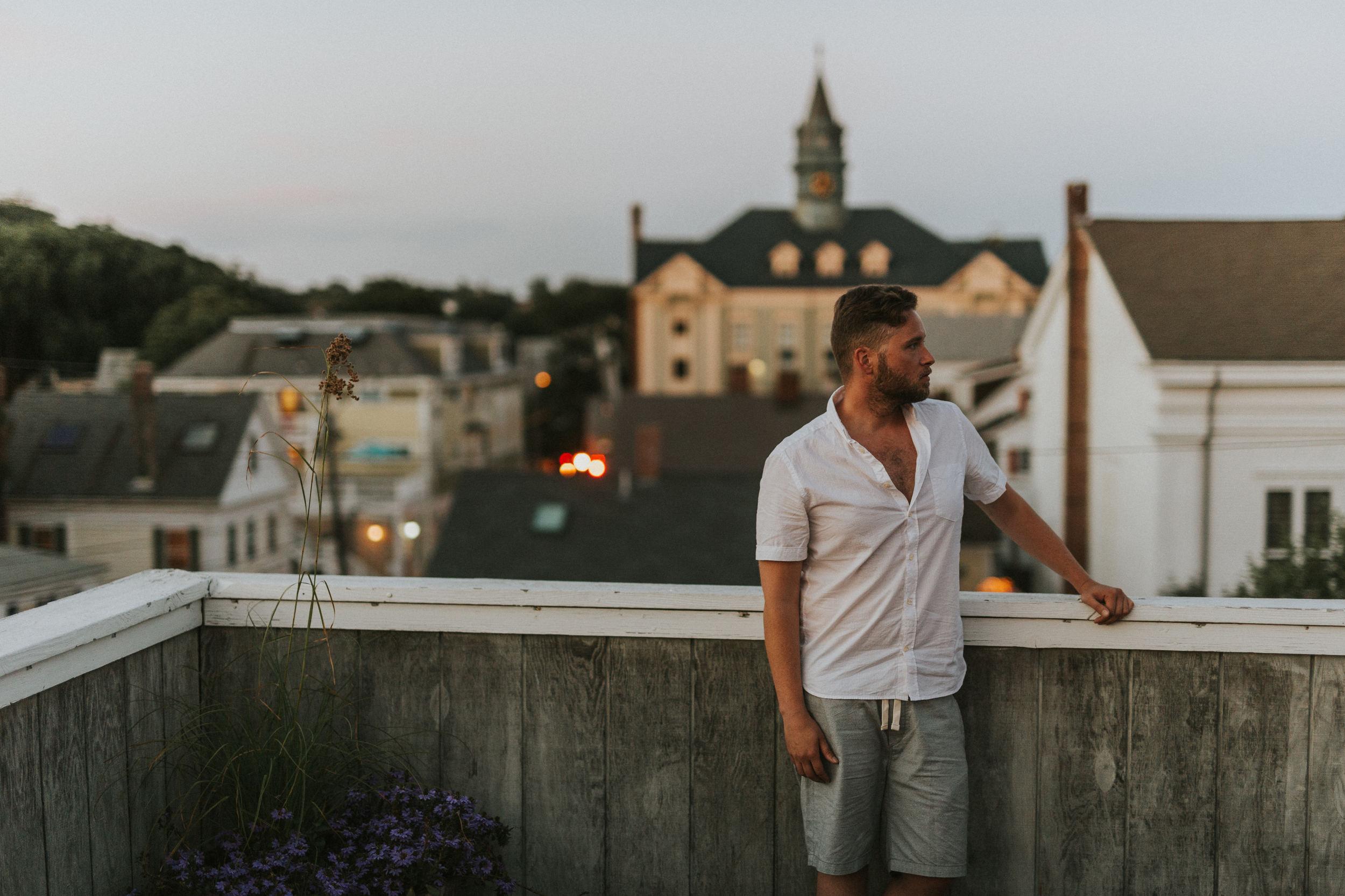 Sexy Ben on rooftop deck