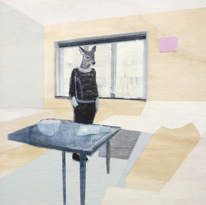 interior (deer), 2010, mixed media on plywood, 120x120cm.