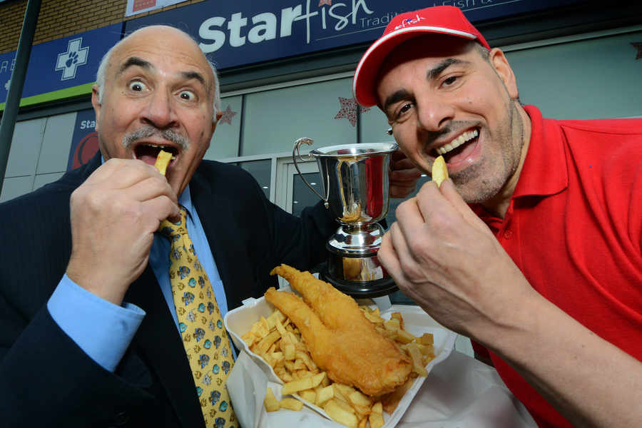 Michael Pili, from the Midland Seafish Industry, and Mike Artemis, owner of Starfish chip shop