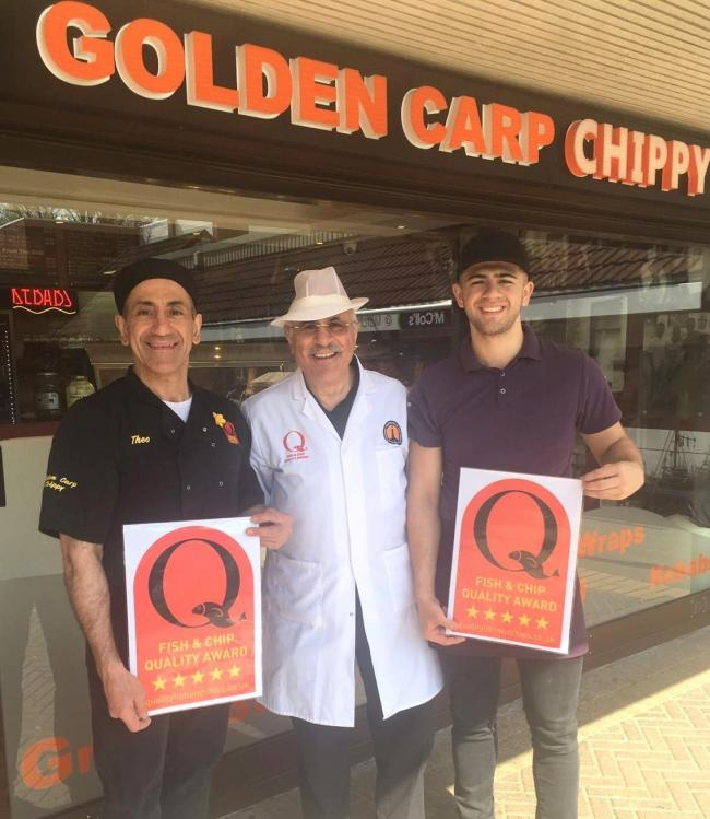Golden Carp Fish Bar Owner Theo Ellinas, NFFF Quality Award assessor Michael Pili, and George Ellinas.