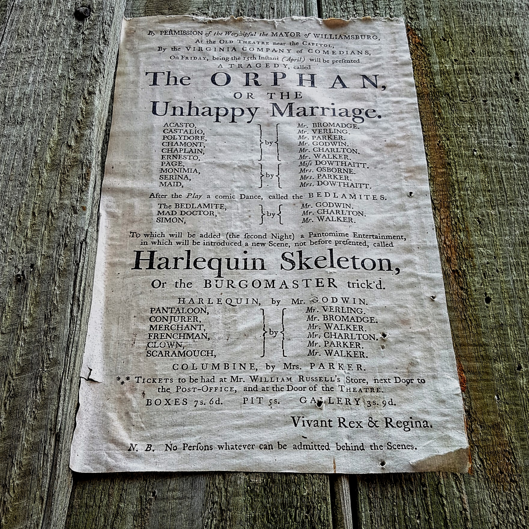 Colonial Playbill