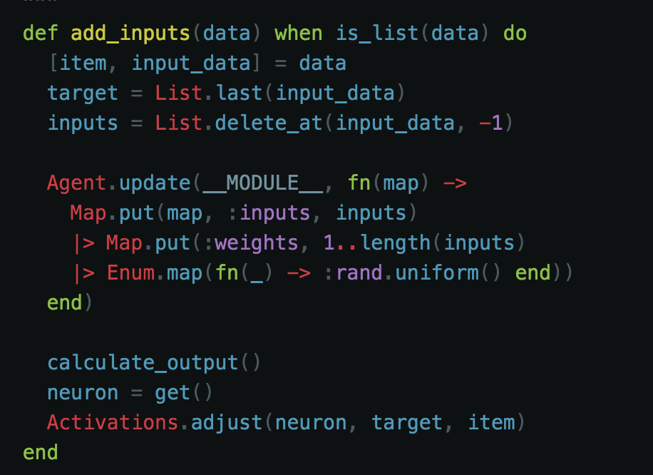 - We read the data from the file and begin to grab out what we need. We make use of pattern matching so as to get our target, and the grocery item. Finally, we pass our updated Neuron to our actions module to see if our threshold is met.