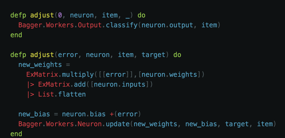 - Here is where the training is carried out. If it finds it has no error, then it is safe to classify the item in question. However, if it does have an error we need to multiply the error by the weights plus the sum of the inputs. To update our bias we need to add our current bias (whatever that may be to our error) once we have those new values we can update our neuron and try again.
