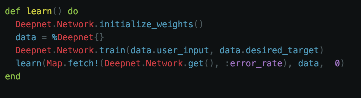 - Here we initialize the random weights and pass our user data and our desired target to the network. Next, we call our Learn function by passing in the error rate, and our user data along with our network age, which is 0 because it will be starting for the first time.