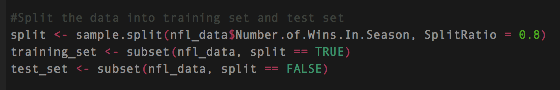 - Here we take a sampled amount of the number of wins in the seasons and give it a split ratio of 80%  - That data is then turned into a subset called training_set  - Anything that was not a part of the 80% will be stored into a subset called test_set