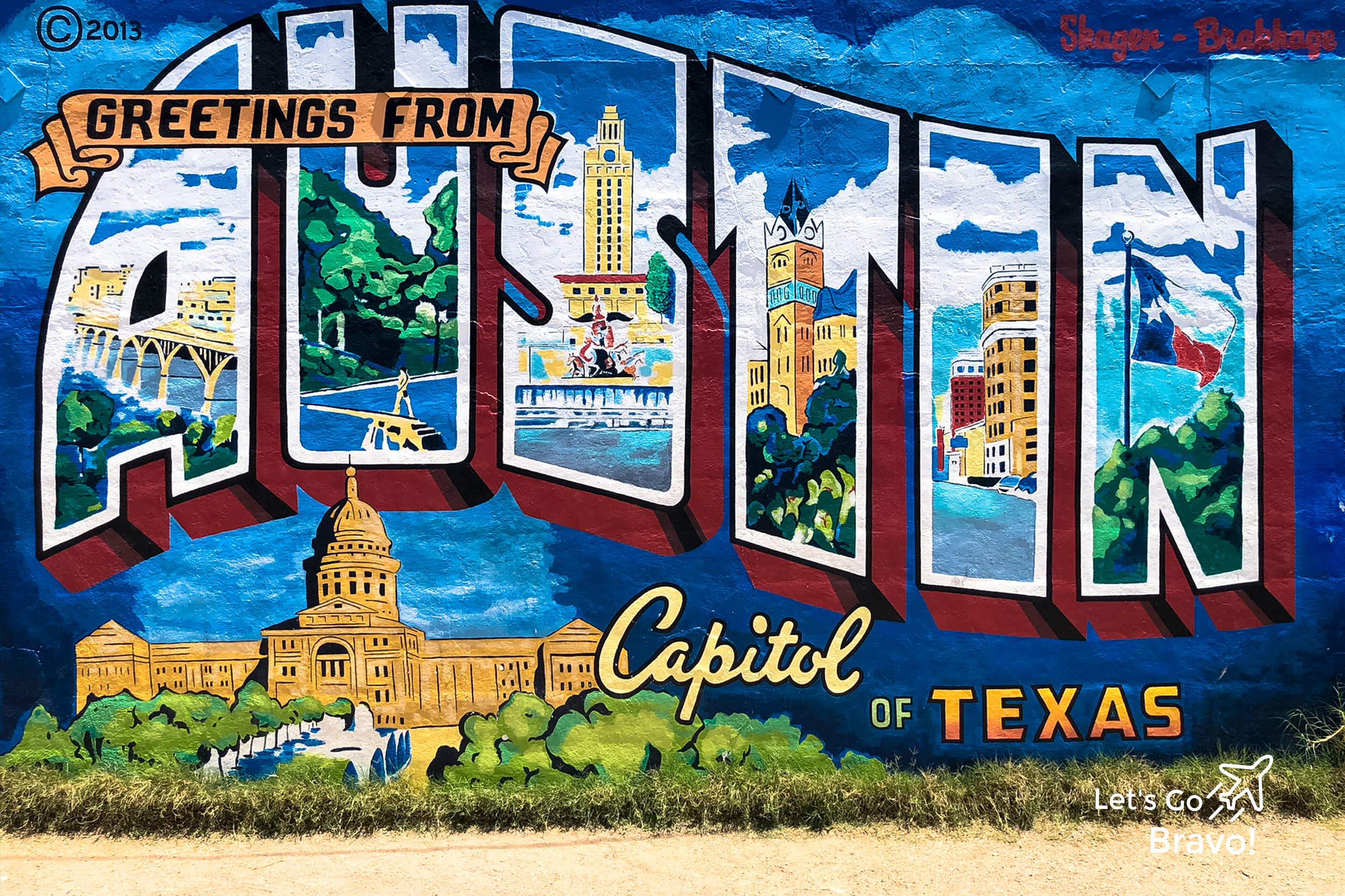 Austin Travel Guide - Let's Go Bravo - Eric Bravo Photography - Greetings From Austin Mural